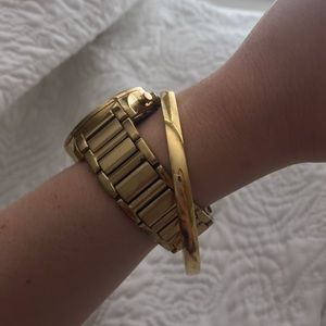 Gold Kate Spade bangle engraved Heart of Gold